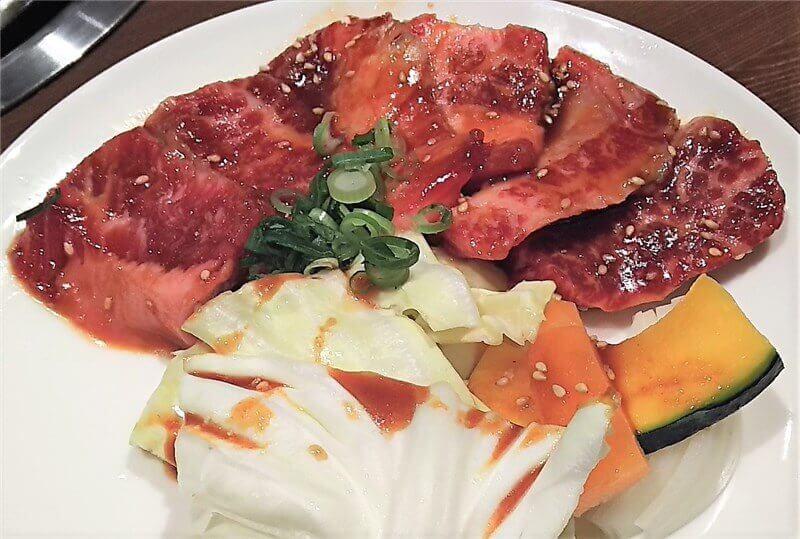 なんだいもん:カルビ定食のカルビと焼き野菜