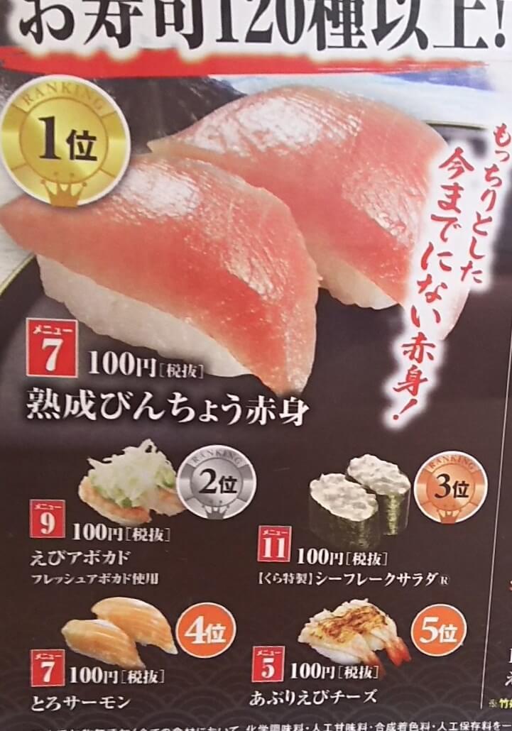 寿司120種以上からおすすめメニュートップ5ランキング