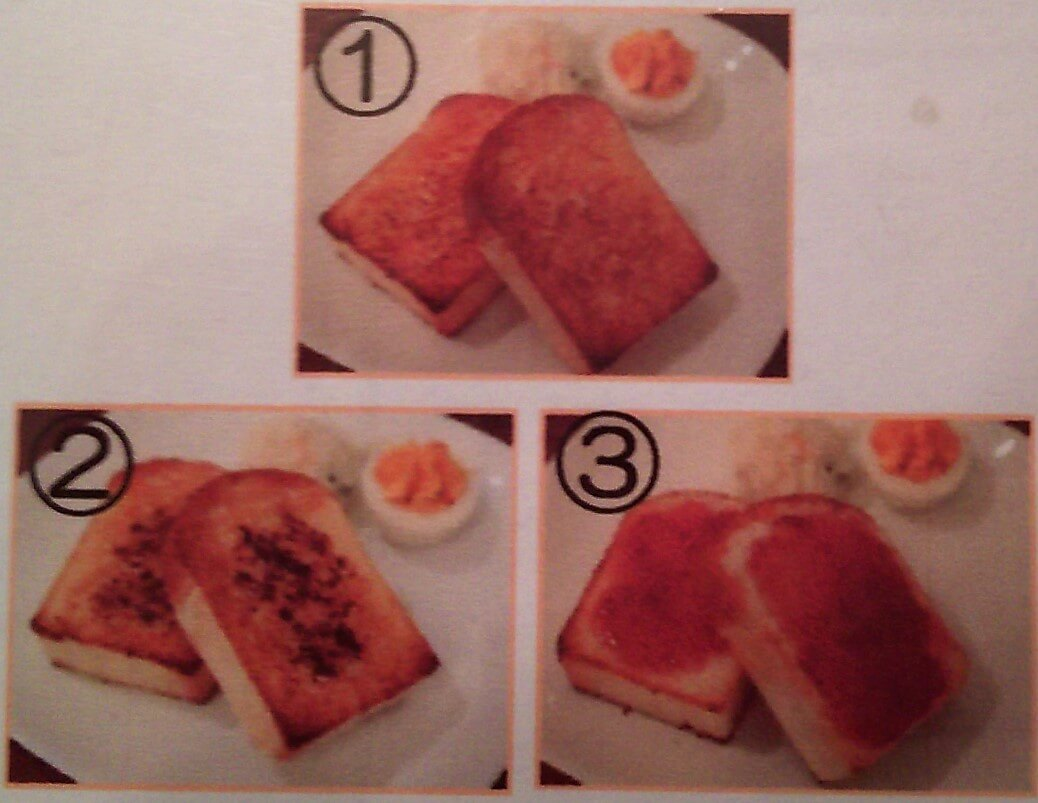 モーニング1、トースト3種類